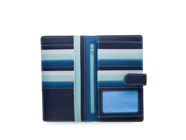 Mywalit Large Tab Tri-fold Wallet Denim 1203-130 open-zoom