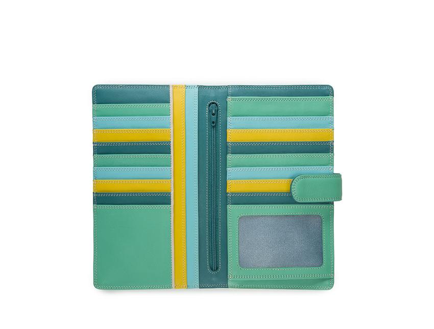 Mywalit Portafoglio grande linea Large Tab Tri-fold Wallet colore Mint cod. 1203-129 open-zoom