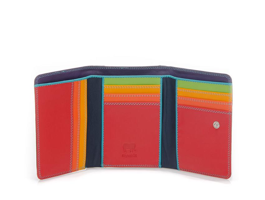 Mywalit Mini Portafoglio pieghevole linea Tri-fold Wallet colore black-pace cod. 106-4 open zoom
