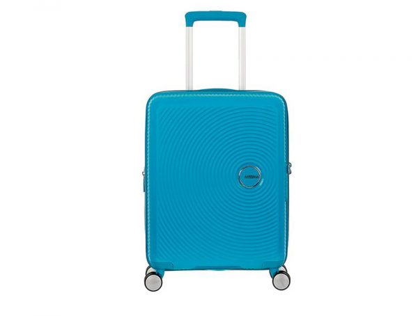 American Tourister - Spinner 55cm - Soundbox - SKU 88472 fronte azzurra