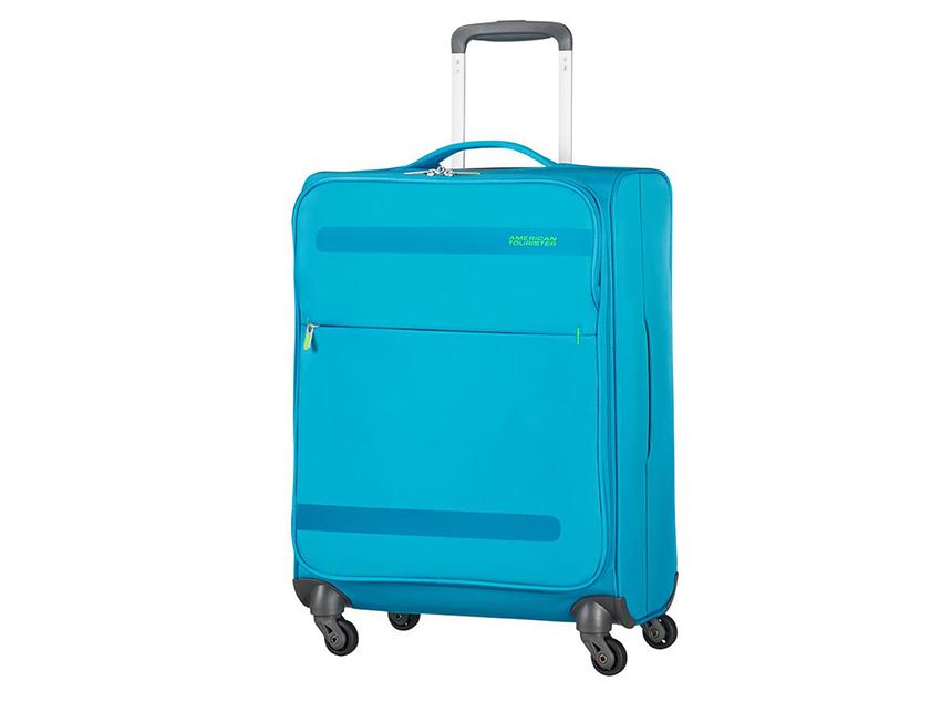 American Tourister - Trolley 55cm - Herolite - SKU 80371 fronte azzurra